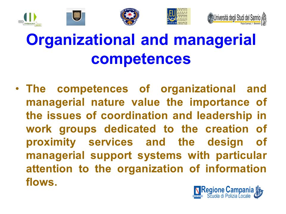 Organizational and managerial competences The competences of organizational and managerial nature value the importance of the issues of coordination and leadership in work groups dedicated to the creation of proximity services and the design of managerial support systems with particular attention to the organization of information flows.