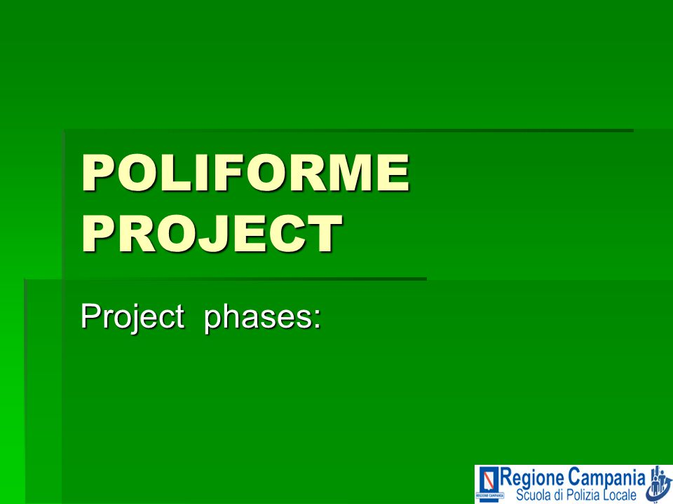 POLIFORME PROJECT Project phases: