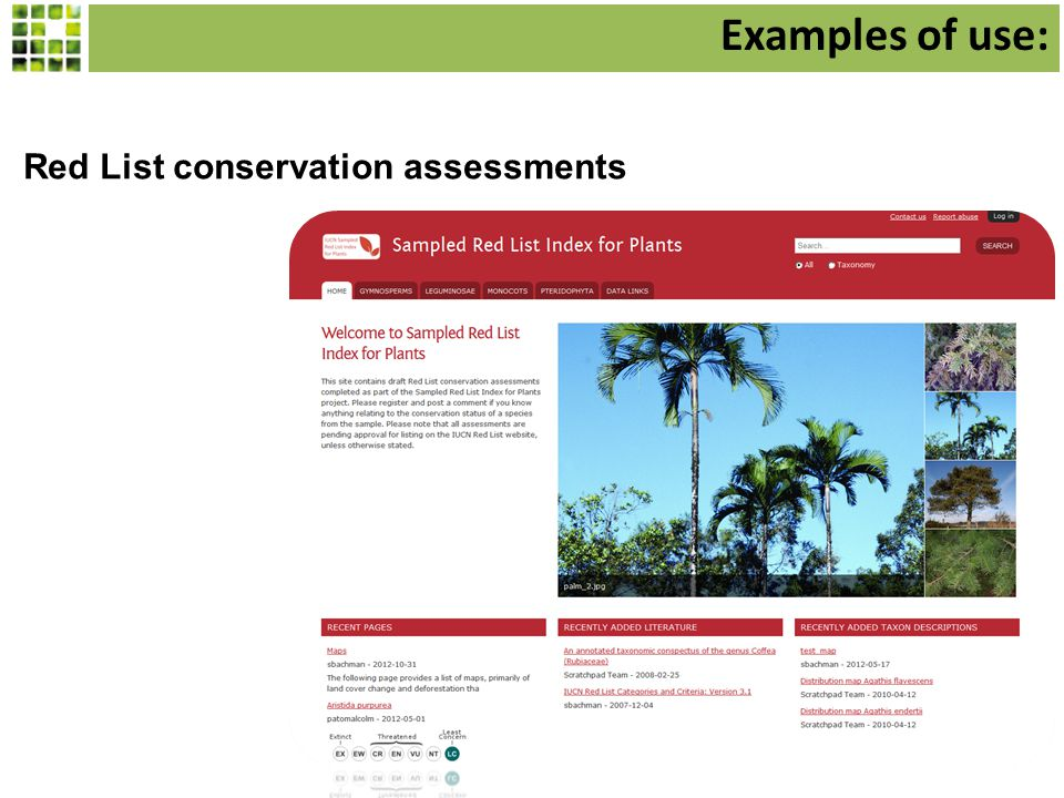Red List conservation assessments Examples of use: