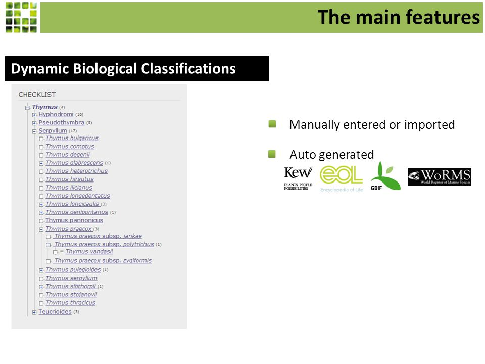 Dynamic Biological Classifications Manually entered or imported Auto generated The main features