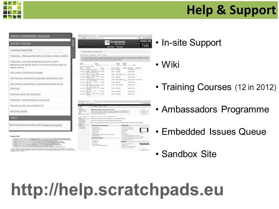 Help & Support In-site Support Wiki Training Courses (12 in 2012) Ambassadors Programme Embedded Issues Queue Sandbox Site http://help.scratchpads.eu