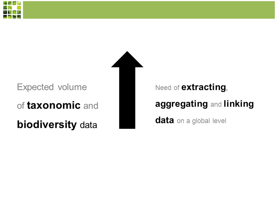 Expected volume of taxonomic and biodiversity data Need of extracting, aggregating and linking data on a global level