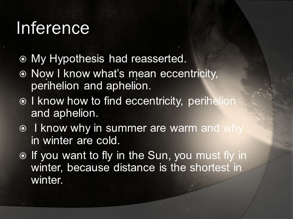 Inference MMy Hypothesis had reasserted.