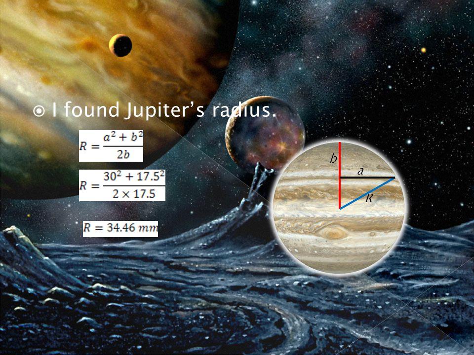  I found Jupiter's radius. a b R