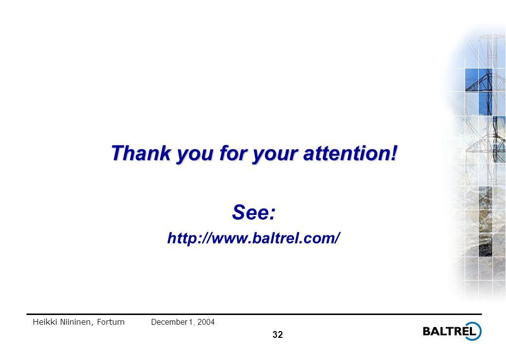 32 Heikki Niininen, FortumDecember 1, 2004 Thank you for your attention.