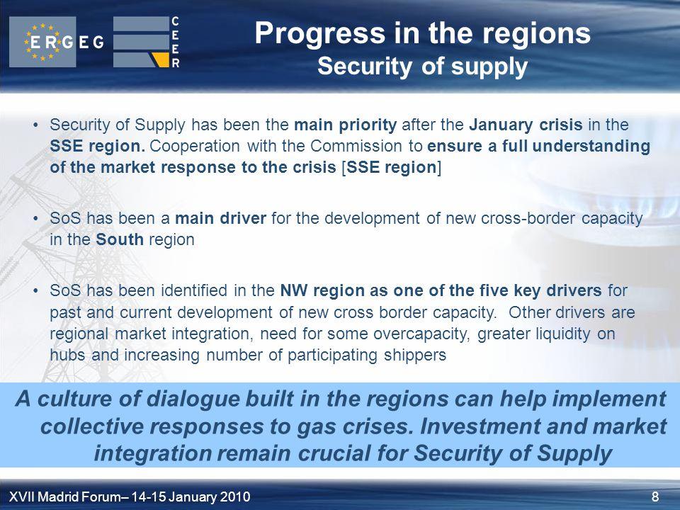9XVII Madrid Forum– 14-15 January 2010 Case study Security of Supply Security of supply: a future role for regional initiatives.