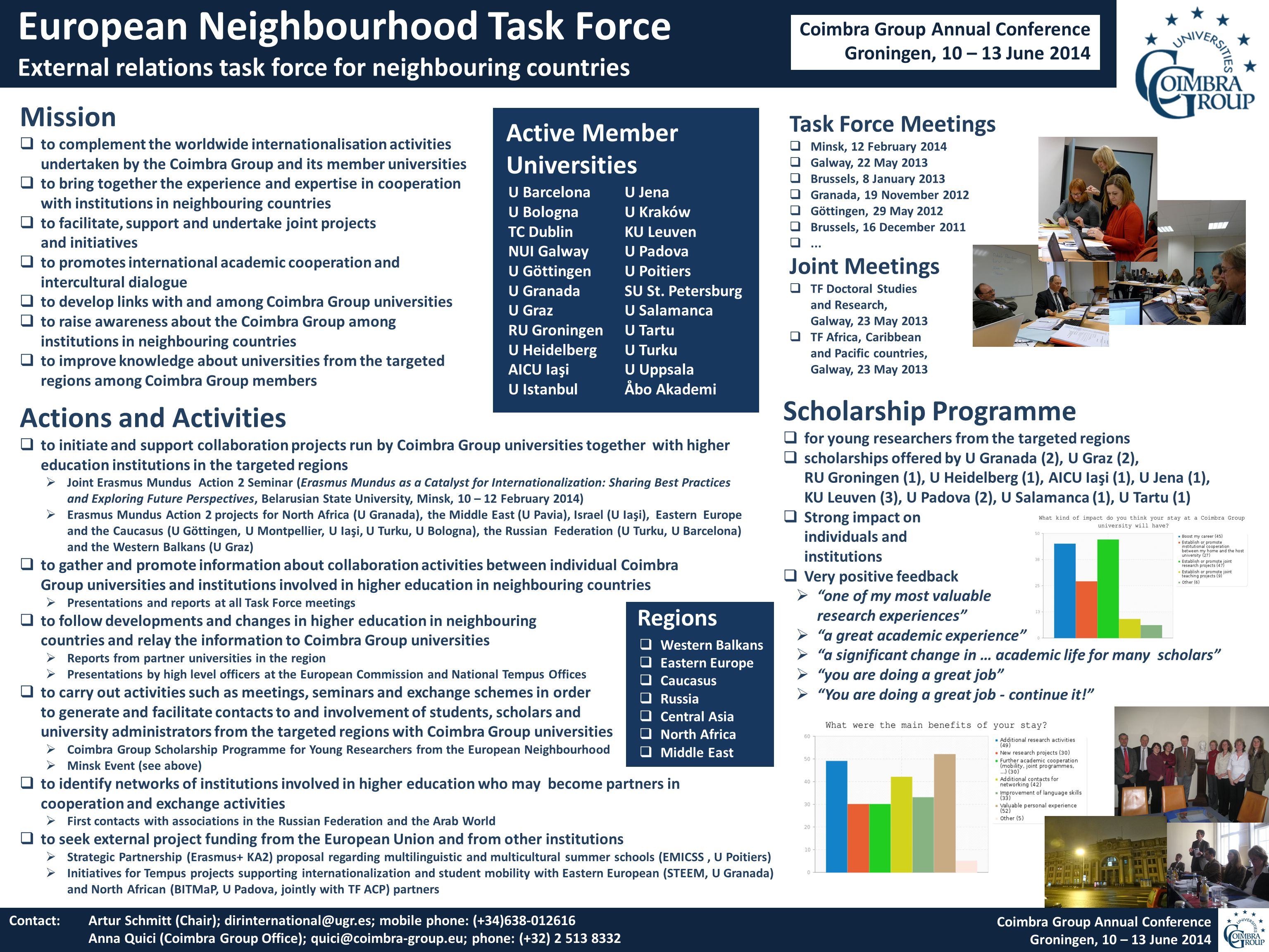 European Neighbourhood Task Force External relations task force for neighbouring countries Contact: Artur Schmitt (Chair); dirinternational@ugr.es; mobile phone: (+34)638-012616 Anna Quici (Coimbra Group Office); quici@coimbra-group.eu; phone: (+32) 2 513 8332 Coimbra Group Annual Conference Groningen, 10 – 13 June 2014 Mission  to complement the worldwide internationalisation activities undertaken by the Coimbra Group and its member universities  to bring together the experience and expertise in cooperation with institutions in neighbouring countries  to facilitate, support and undertake joint projects and initiatives  to promotes international academic cooperation and intercultural dialogue  to develop links with and among Coimbra Group universities  to raise awareness about the Coimbra Group among institutions in neighbouring countries  to improve knowledge about universities from the targeted regions among Coimbra Group members Task Force Meetings  Minsk, 12 February 2014  Galway, 22 May 2013  Brussels, 8 January 2013  Granada, 19 November 2012  Göttingen, 29 May 2012  Brussels, 16 December 2011 ...