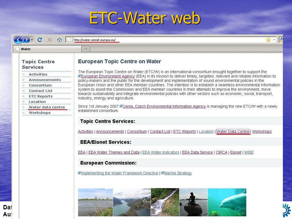 Date/ event: Author: ETC-Water web 7. - 8. 6. 2010 WISE TG Meeting Madrid Miroslav Fanta ETC Water