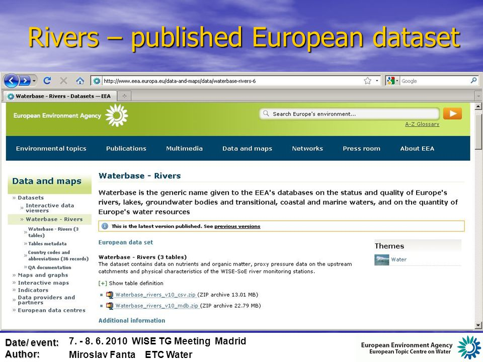 Date/ event: Author: Emissions to water - reported data 7.