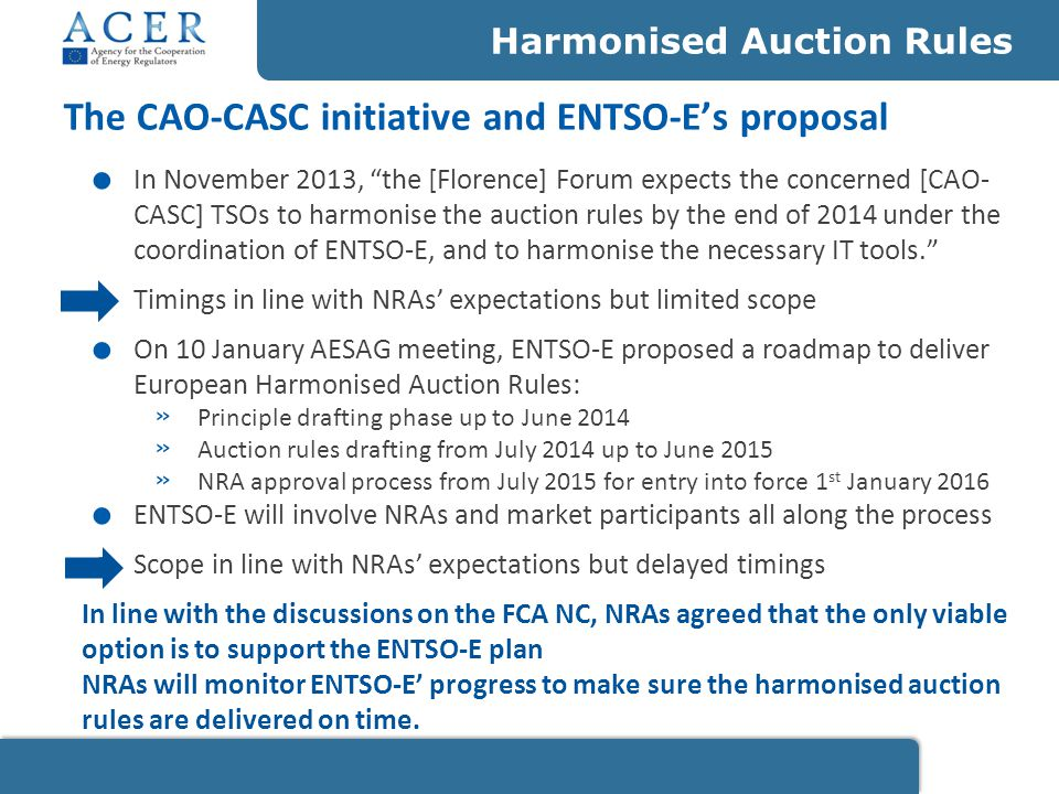 ENTSO-E shared its first input focused on accession principles and asked for guidance on two elements: the requirement of being a Balancing Responsible Party NRAs share the view that ENTSO-E should investigate how to remove the necessity of being BRP for participating to long-term capacity auction the harmonisation of TSOs designation NRAs support ENTSO-E's proposal to conduct a cost-benefit analysis to identify the best way forward regarding the harmonisation of the TSO designation process.