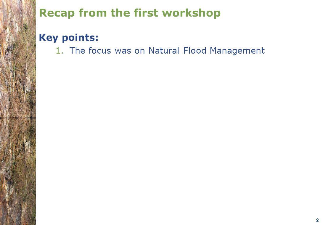07.0330/2013/659147/SER/ENV.C1- DGENV – Brussels 22/01/14 n.amorsi@oieau.Fr 2 Recap from the first workshop Key points: 1.The focus was on Natural Flood Management
