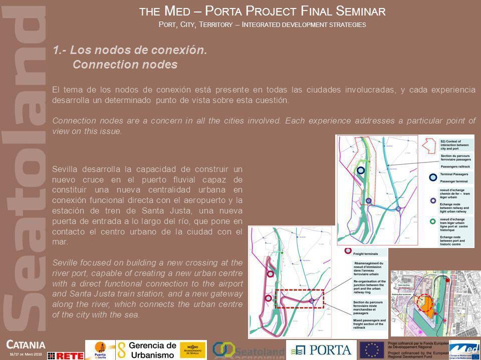 1.- Los nodos de conexión. Connection nodes El tema de los nodos de conexión está presente en todas las ciudades involucradas, y cada experiencia desa