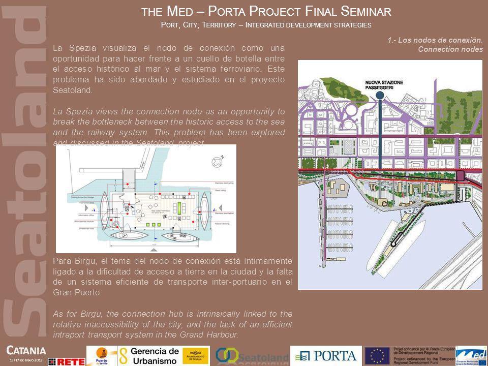 THE M ED – P ORTA P ROJECT F INAL S EMINAR P ORT, C ITY, T ERRITORY – I NTEGRATED DEVELOPMENT STRATEGIES Ambos proyectos, Seatoland y PORTA, tienen unos elementos de conexión, porque el objetivo común es superar la dicotomía entre el desarrollo urbano y portuario.