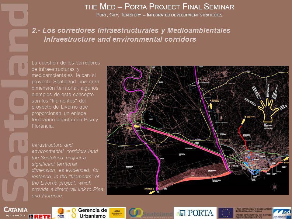 En Sevilla, el sistema territorial de parques lineales en las zonas urbanas y metropolitanas converge en el área central de la ciudad a través de la zona portuaria y el río.
