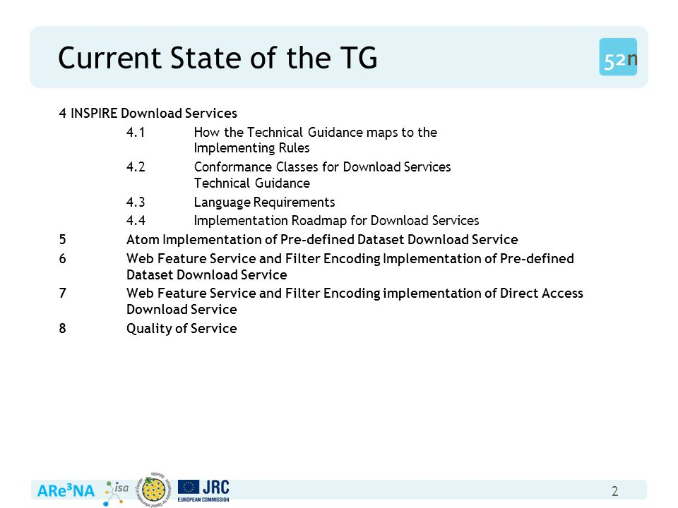 2 Current State of the TG 4 INSPIRE Download Services 4.1How the Technical Guidance maps to the Implementing Rules 4.2Conformance Classes for Download Services Technical Guidance 4.3Language Requirements 4.4Implementation Roadmap for Download Services 5Atom Implementation of Pre-defined Dataset Download Service 6Web Feature Service and Filter Encoding Implementation of Pre-defined Dataset Download Service 7Web Feature Service and Filter Encoding implementation of Direct Access Download Service 8Quality of Service