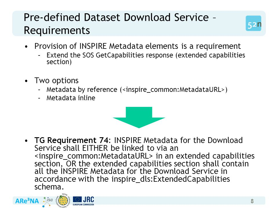 8 Pre-defined Dataset Download Service – Requirements Provision of INSPIRE Metadata elements is a requirement –Extend the SOS GetCapabilities response (extended capabilities section) Two options –Metadata by reference ( ) –Metadata inline TG Requirement 74: INSPIRE Metadata for the Download Service shall EITHER be linked to via an in an extended capabilities section, OR the extended capabilities section shall contain all the INSPIRE Metadata for the Download Service in accordance with the inspire_dls:ExtendedCapabilities schema.
