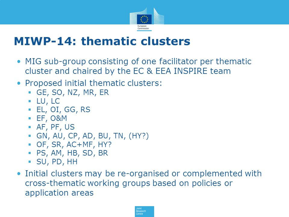 MIWP-14: thematic clusters MIG sub-group consisting of one facilitator per thematic cluster and chaired by the EC & EEA INSPIRE team Proposed initial