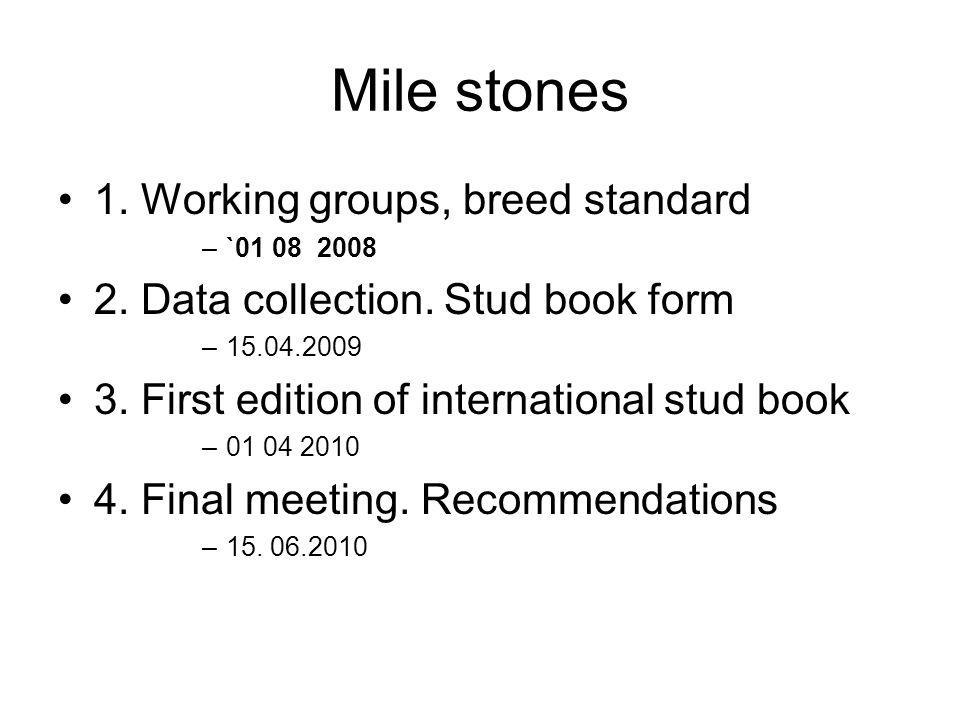 Mile stones 1. Working groups, breed standard –`01 08 2008 2.