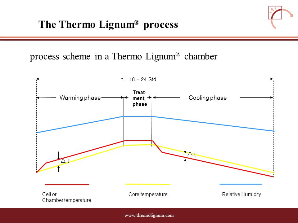 www.thermolignum.com The Thermo Lignum ® process process scheme in a Thermo Lignum ® chamber Treat- ment phase Warming phaseCooling phase t t = 18 – 24 Std Cell or Chamber temperature Core temperatureRelative Humidity t