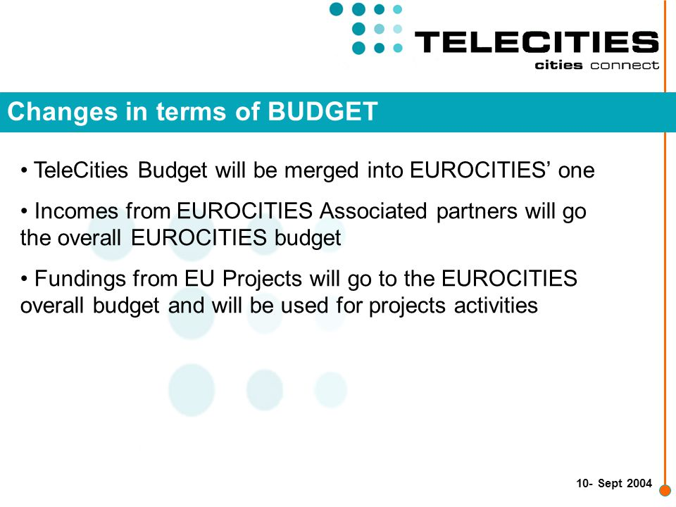 10- Sept 2004 Changes in terms of BUDGET TeleCities Budget will be merged into EUROCITIES' one Incomes from EUROCITIES Associated partners will go the overall EUROCITIES budget Fundings from EU Projects will go to the EUROCITIES overall budget and will be used for projects activities
