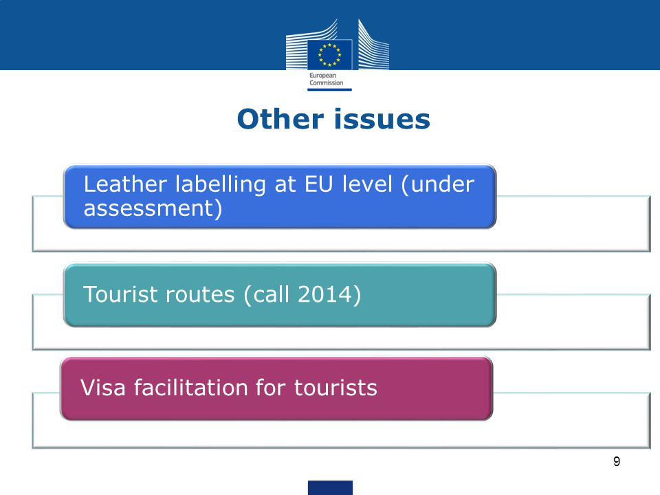 Other issues 9 Leather labelling at EU level (under assessment) Tourist routes (call 2014)Visa facilitation for tourists