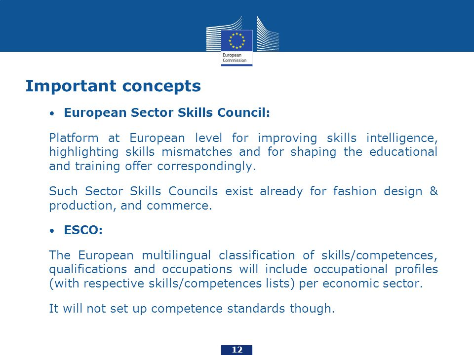 Important concepts European Sector Skills Council: Platform at European level for improving skills intelligence, highlighting skills mismatches and for shaping the educational and training offer correspondingly.