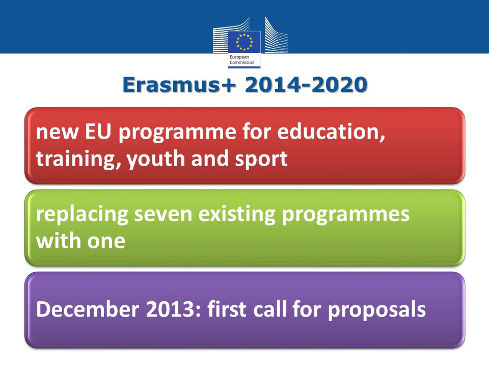 Erasmus+ 2014-2020 new EU programme for education, training, youth and sport replacing seven existing programmes with one December 2013: first call for proposals