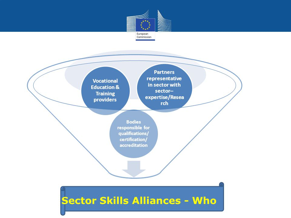 Sector Skills Alliances - Who Bodies responsible for qualifications/ certification/ accreditation Vocational Education & Training providers Partners representative in sector with sector– expertise/Resea rch