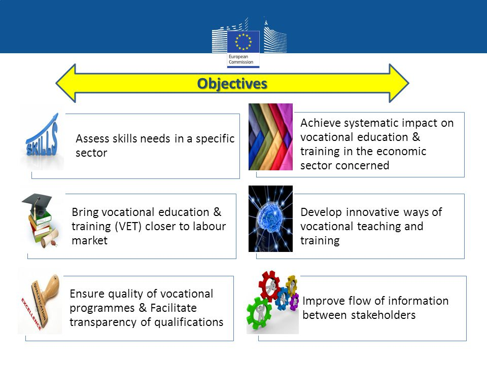 Sector Skill Alliances Assess skills needs in a specific sector Achieve systematic impact on vocational education & training in the economic sector concerned Bring vocational education & training (VET) closer to labour market Develop innovative ways of vocational teaching and training Ensure quality of vocational programmes & Facilitate transparency of qualifications Improve flow of information between stakeholdersObjectives