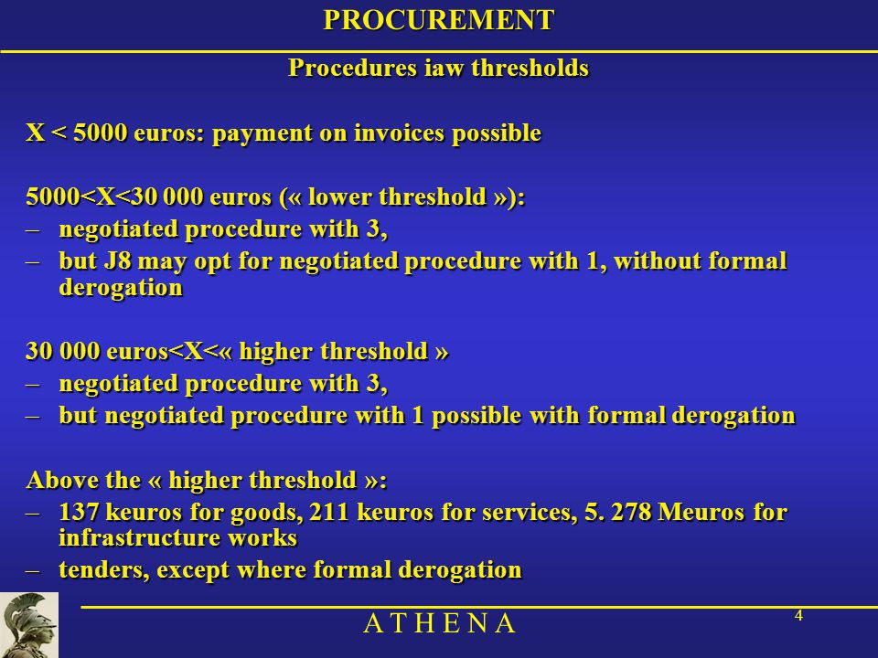 A T H E N A 15PROCUREMENT 4) Select the successfull candidate (continued) Criteria: –either the lowest price –should be the rule –or the best-value-for-money –taking into account notably the capacity to do the job within the timeframe –must be specified in the specifications –report on procedure, including reasons for selection
