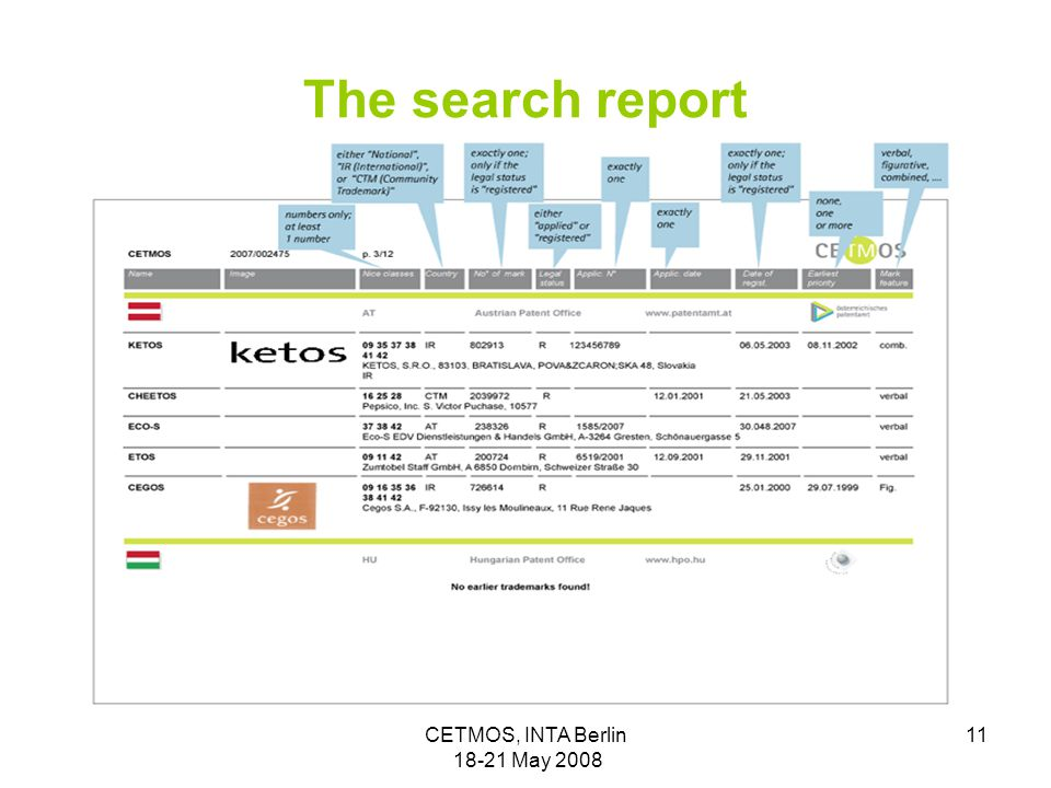 CETMOS, INTA Berlin 18-21 May 2008 11 The search report