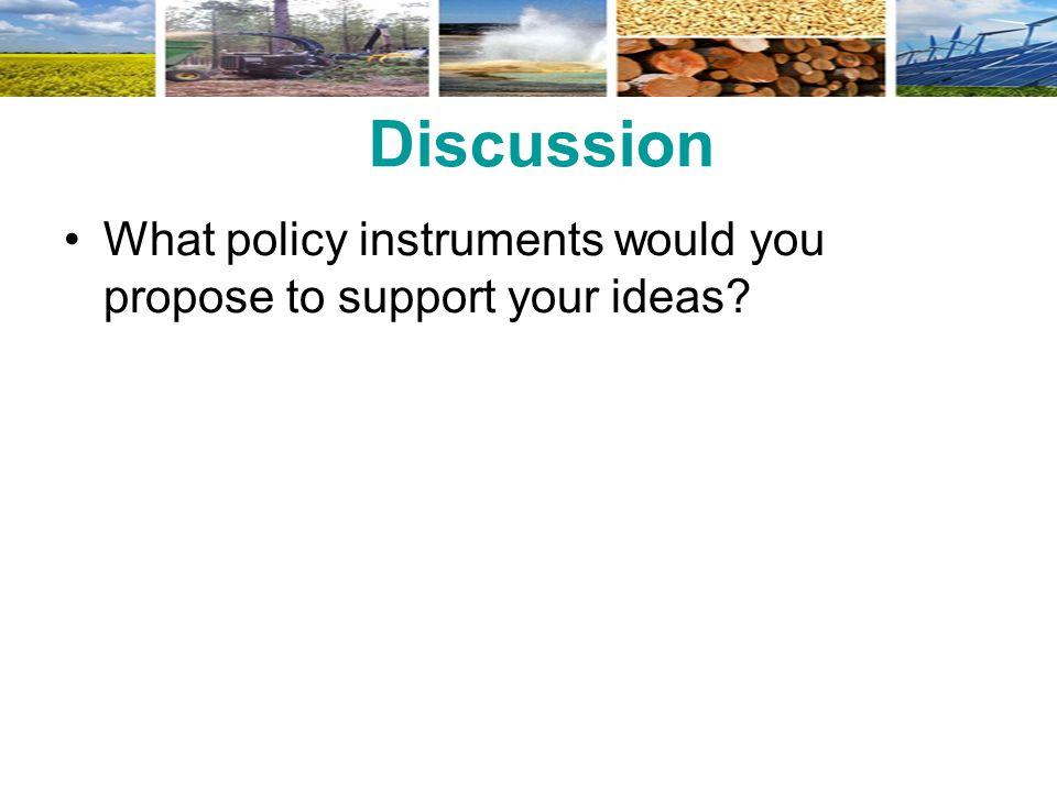 Discussion What policy instruments would you propose to support your ideas?
