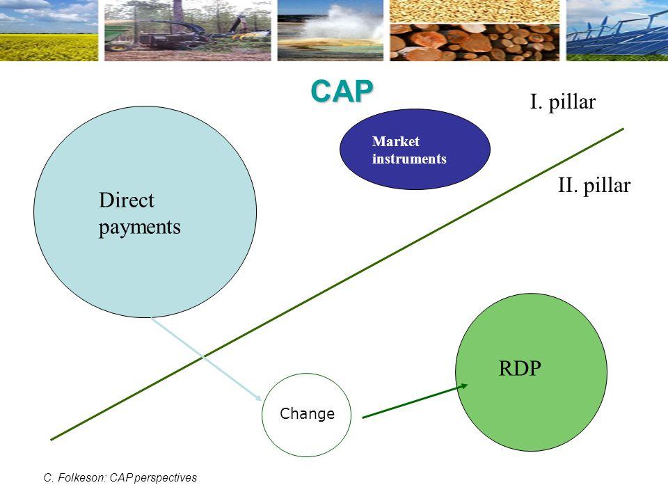 CAP Direct payments Market instruments RDP I.pillar II.