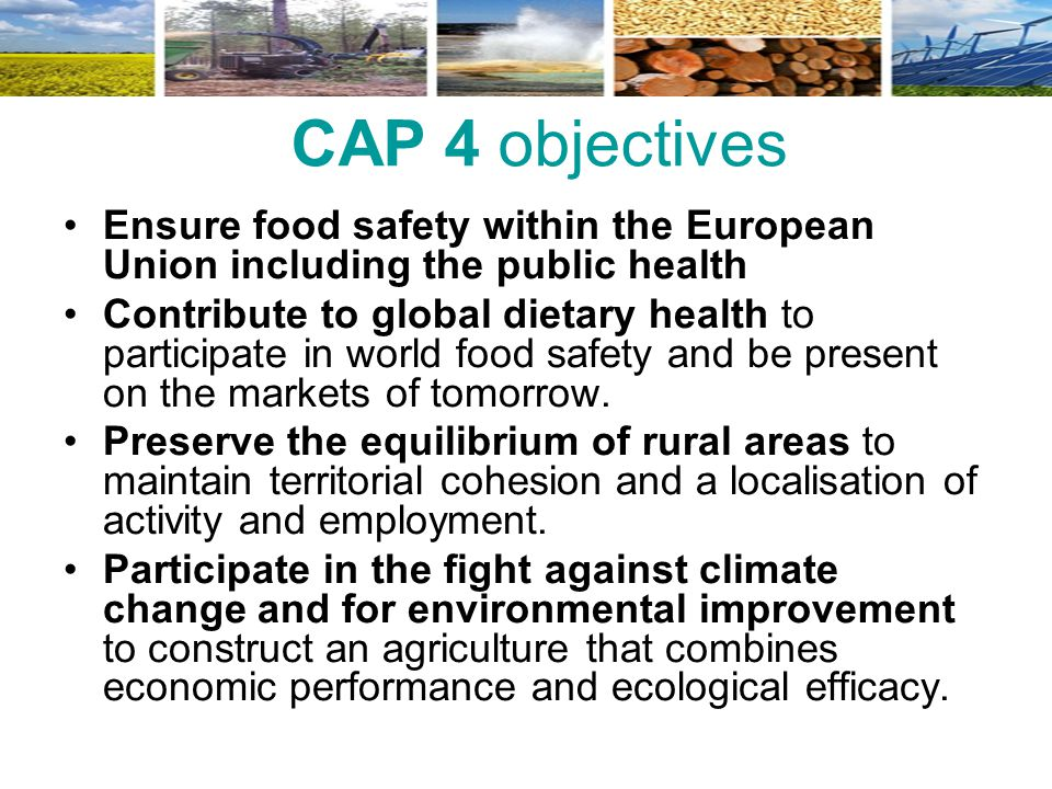 CAP 4 objectives Ensure food safety within the European Union including the public health Contribute to global dietary health to participate in world