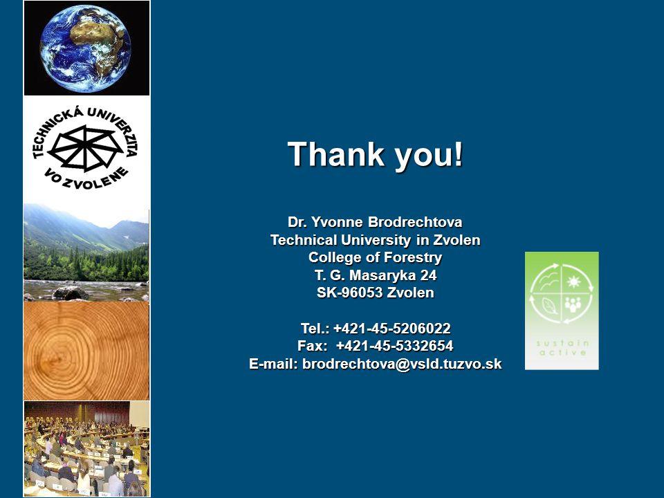 Thank you! Dr. Yvonne Brodrechtova Technical University in Zvolen College of Forestry T. G. Masaryka 24 SK-96053 Zvolen Tel.: +421-45-5206022 Fax: +42