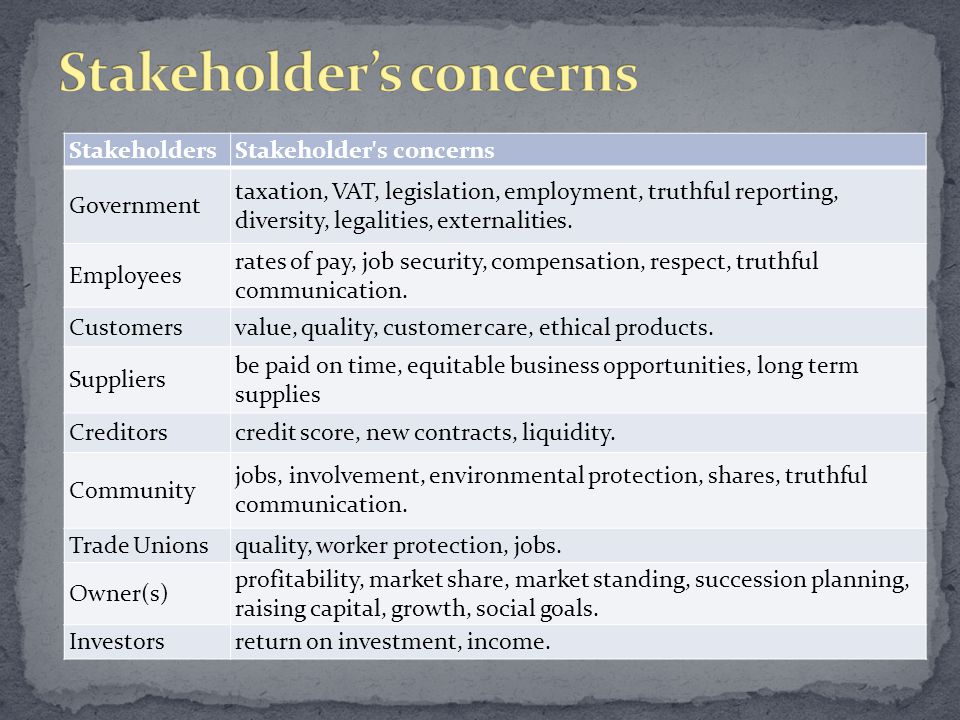 StakeholdersStakeholder s concerns Government taxation, VAT, legislation, employment, truthful reporting, diversity, legalities, externalities.