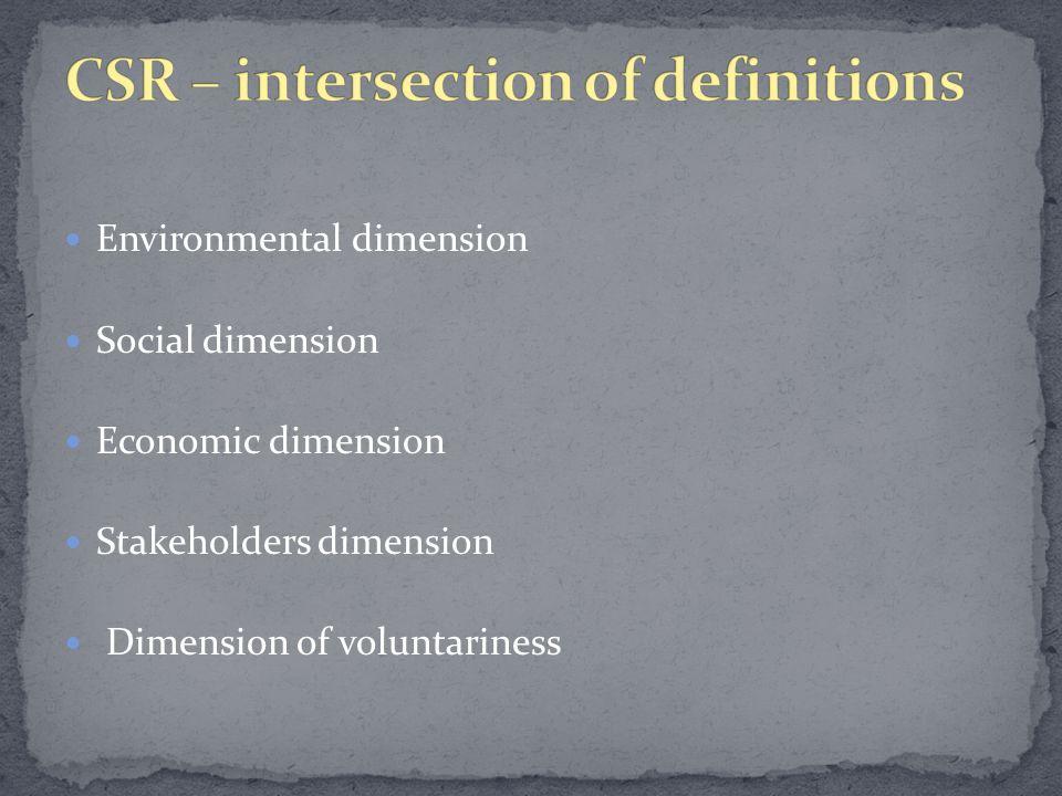 Environmental dimension Social dimension Economic dimension Stakeholders dimension Dimension of voluntariness
