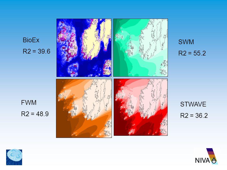 BioEx R2 = 39.6 STWAVE R2 = 36.2 SWM R2 = 55.2 FWM R2 = 48.9