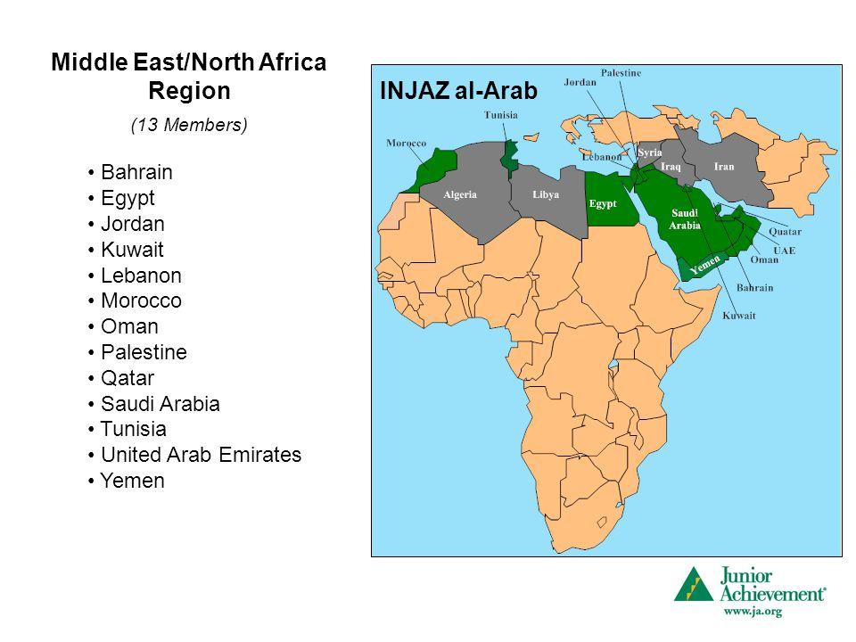 Middle East/North Africa Region (13 Members) Bahrain Egypt Jordan Kuwait Lebanon Morocco Oman Palestine Qatar Saudi Arabia Tunisia United Arab Emirate
