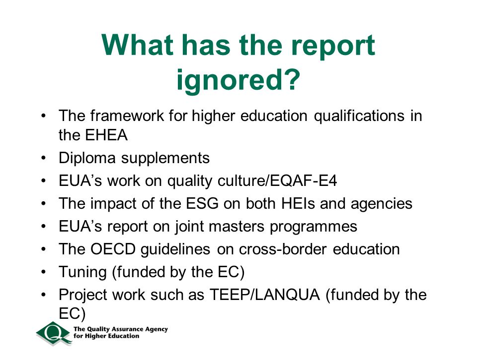 What has the report ignored.