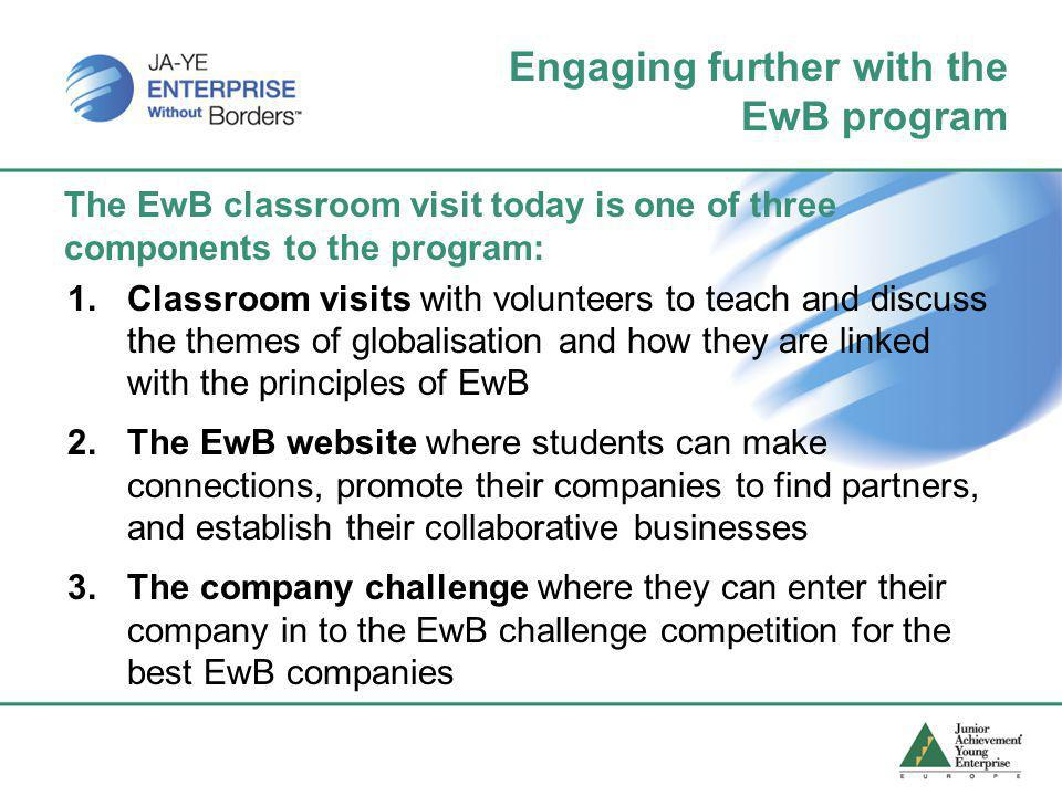 Engaging further with the EwB program The EwB classroom visit today is one of three components to the program: 1.