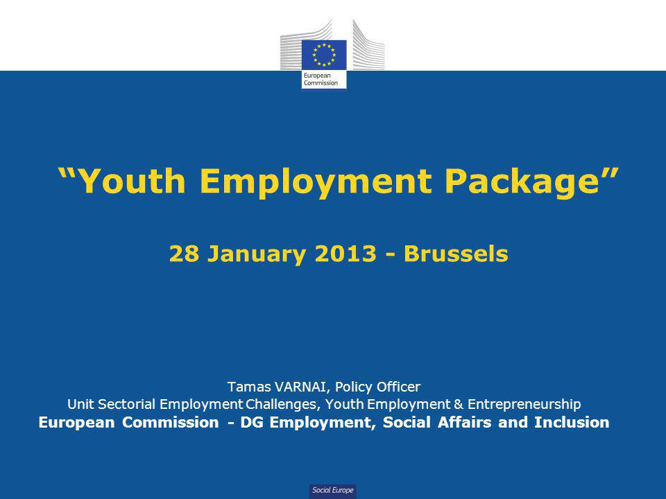 Social Europe Youth Employment Package 28 January 2013 - Brussels Tamas VARNAI, Policy Officer Unit Sectorial Employment Challenges, Youth Employment & Entrepreneurship European Commission - DG Employment, Social Affairs and Inclusion