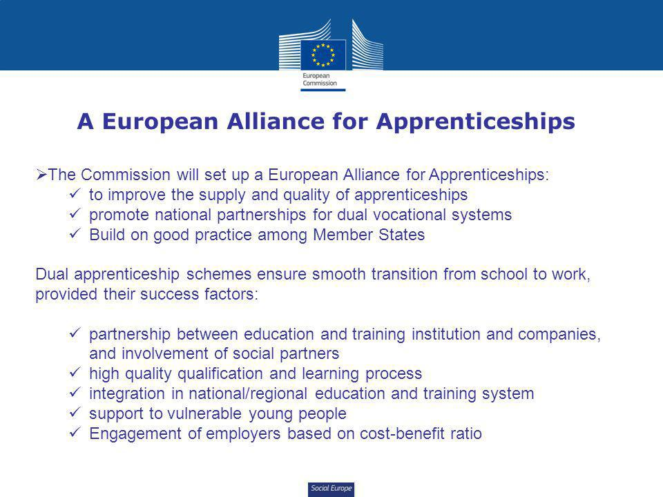 Social Europe A European Alliance for Apprenticeships  The Commission will set up a European Alliance for Apprenticeships: to improve the supply and quality of apprenticeships promote national partnerships for dual vocational systems Build on good practice among Member States Dual apprenticeship schemes ensure smooth transition from school to work, provided their success factors: partnership between education and training institution and companies, and involvement of social partners high quality qualification and learning process integration in national/regional education and training system support to vulnerable young people Engagement of employers based on cost-benefit ratio