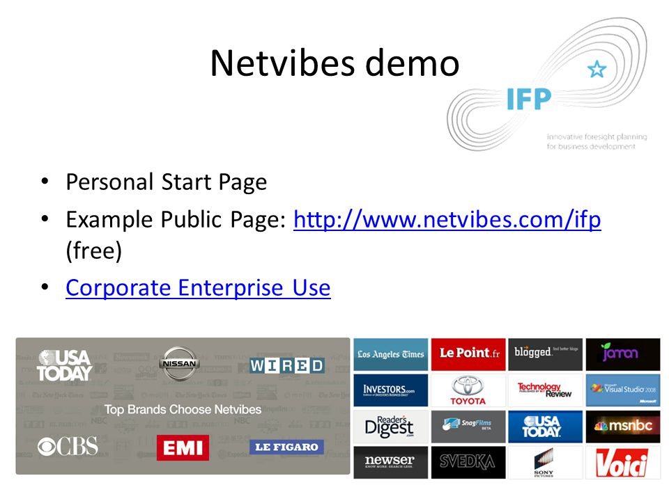 Netvibes demo Personal Start Page Example Public Page: http://www.netvibes.com/ifp (free)http://www.netvibes.com/ifp Corporate Enterprise Use