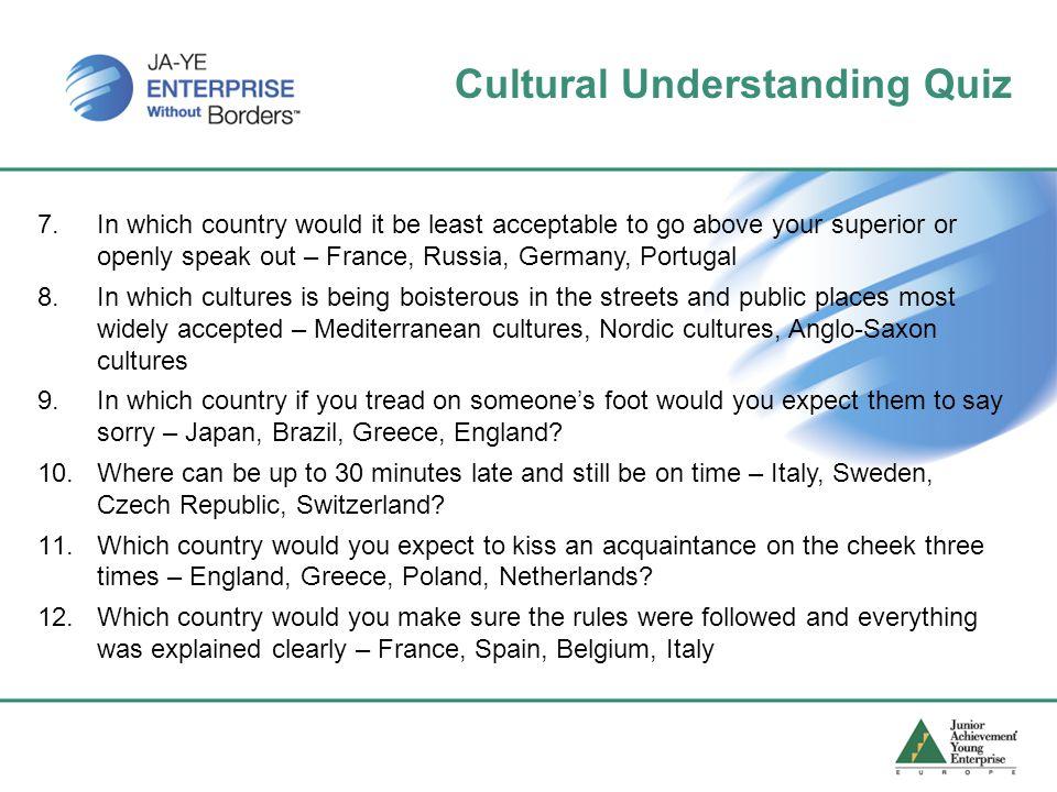 Cultural Understanding Quiz 7.