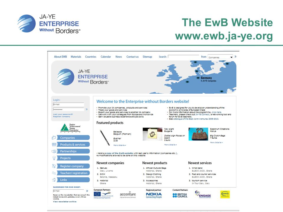 The EwB Website www.ewb.ja-ye.org