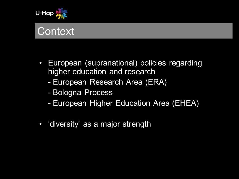 Context European (supranational) policies regarding higher education and research - European Research Area (ERA) - Bologna Process - European Higher Education Area (EHEA) 'diversity' as a major strength