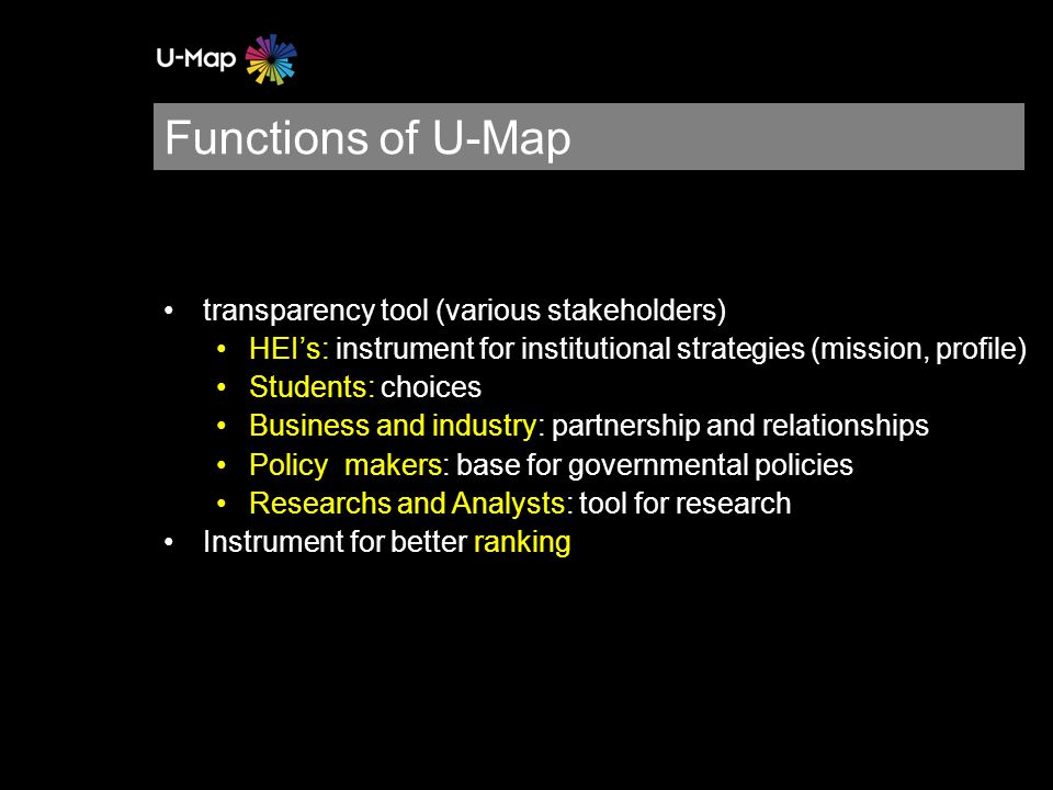 Set up Estonian Ministry of Education and Research Rectors' Conference Higher education institutions Ownership U-Map in Estonia: stakeholder approach