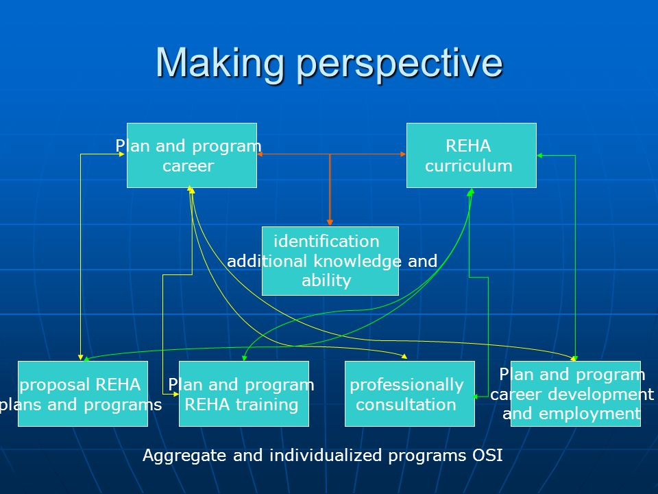 Making perspective Plan and program career REHA curriculum identification additional knowledge and ability proposal REHA plans and programs Plan and program REHA training professionally consultation Plan and program career development and employment Aggregate and individualized programs OSI
