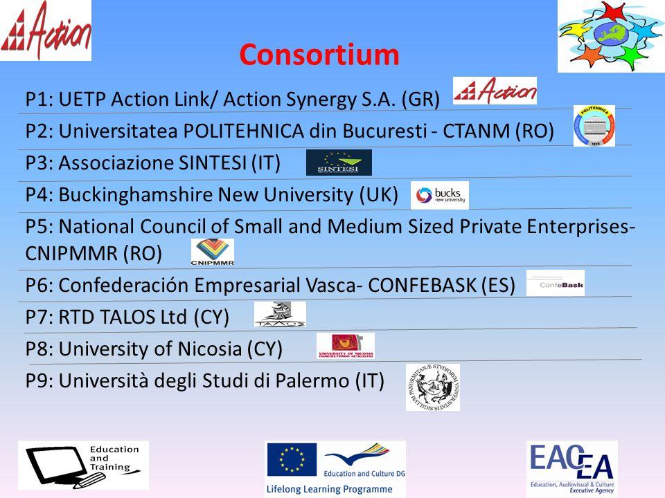 Consortium P1: UETP Action Link/ Action Synergy S.A. (GR) P2: Universitatea POLITEHNICA din Bucuresti - CTANM (RO) P3: Associazione SINTESI (IT) P4: B